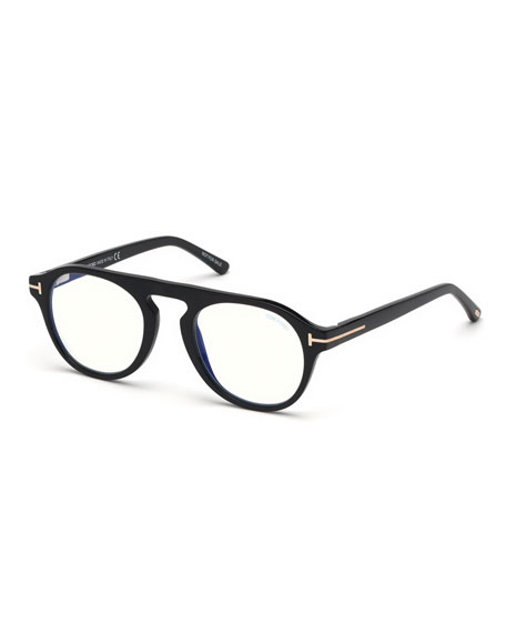TOM FORD Men's Round Optical Glasses w/ Magnetic Clip On Blue-Block Shade