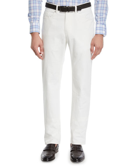Peter Millar Men's Soft Touch Twill Trousers, Off White