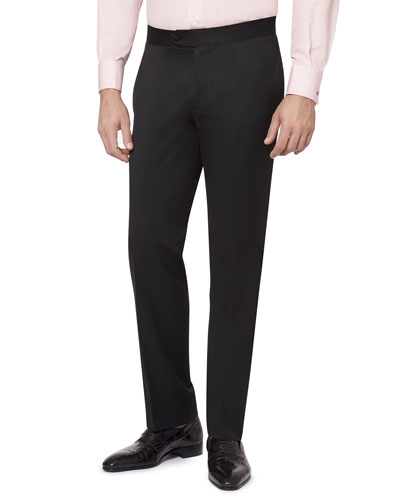 Men's Flat-Front Wool Formal Pants
