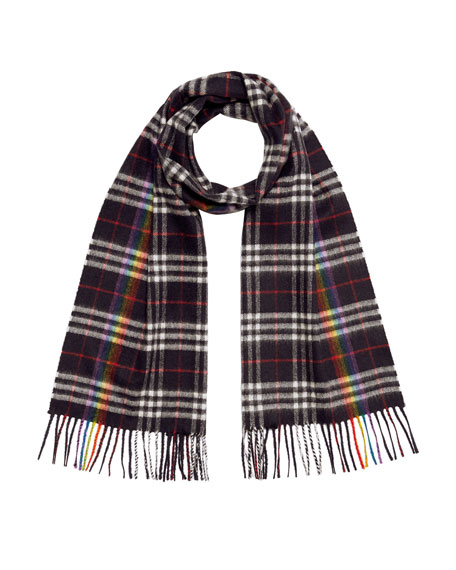 Burberry Men's Rainbow Vintage-Check Cashmere Scarf