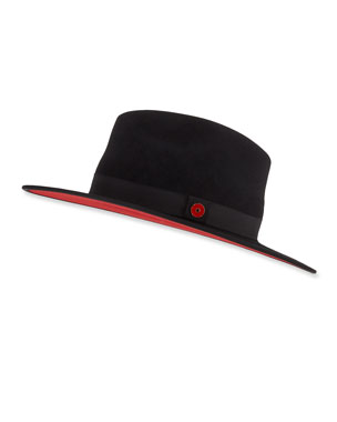 5eb7720699abf Keith and James Queen Red-Brim Wool Fedora Hat, Black