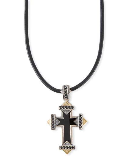 Konstantino Men's Stavros Onyx-Inset Cross Pendant