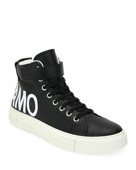 Salvatore Ferragamo Men's Ayr 2 High-Top Leather Sneakers