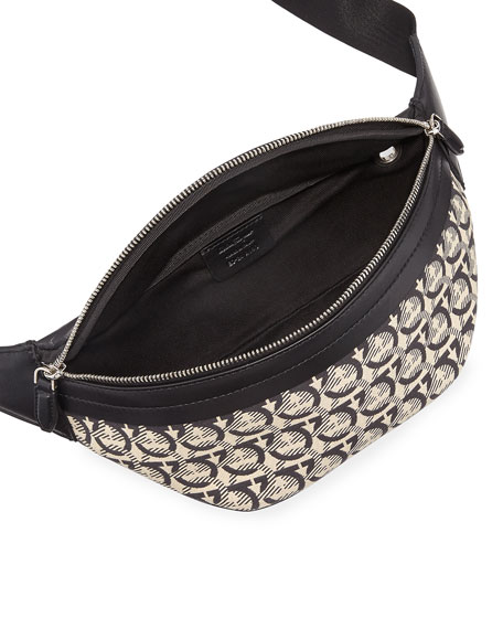 Salvatore Ferragamo Men's Gancini Jacquard Canvas Belt Bag/Fanny Pack