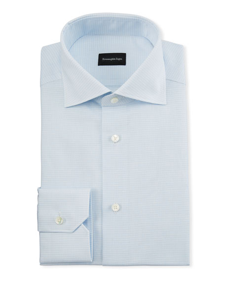 Ermenegildo Zegna Men's Cotton/Linen Micro Graph-Check Dress