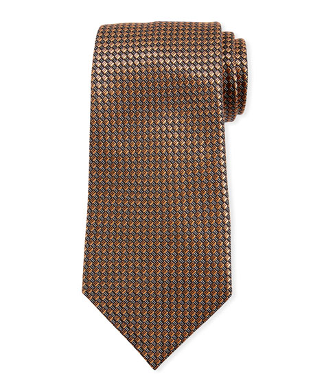 Ermenegildo Zegna Basketweave Silk Tie, Orange