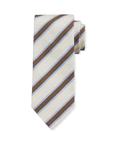 Ermenegildo Zegna Framed Stripe Silk Tie, Ivory