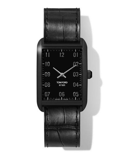 Men's 44mm Matte Square Alligator Leather Watch  Black