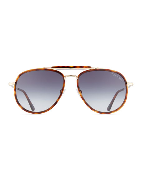 TOM FORD Men's Tripp Tortoiseshell Aviator Sunglasses