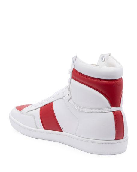 Saint Laurent Men's SL10H Lace-Up Leather High-Top Sneakers