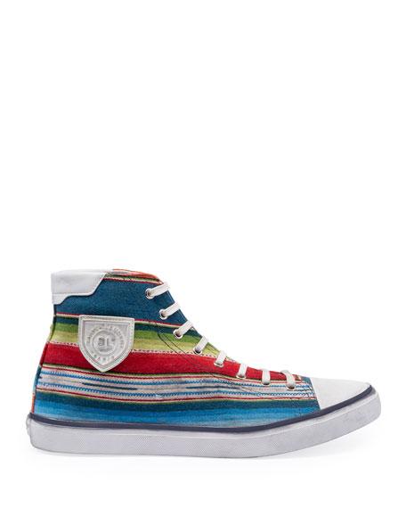 Saint Laurent Men's Bedford Southwest Striped High-Top Sneakers