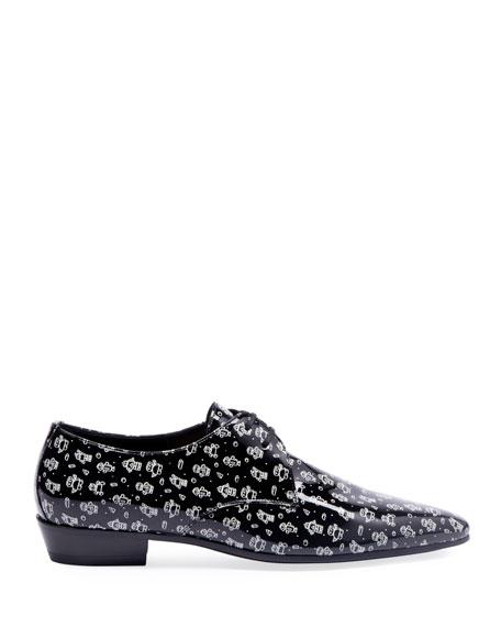 Saint Laurent Men's Graphic Lace-Up Derby Shoes