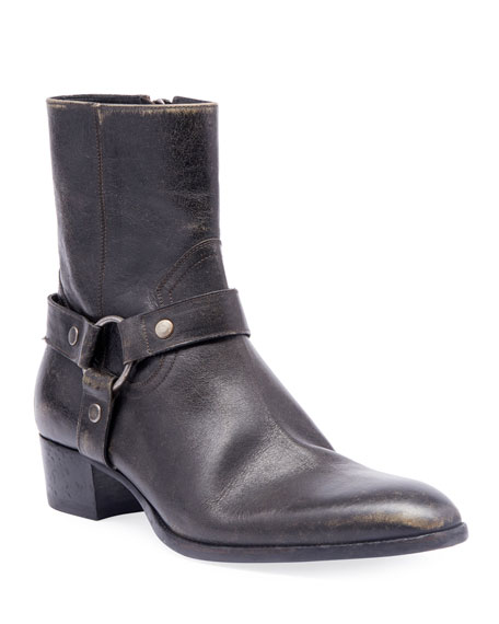 Saint Laurent Men's Wyatt Leather Harness Boots