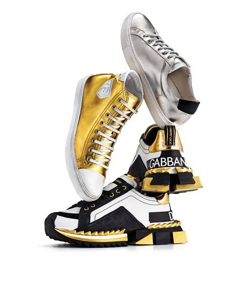 Saint Laurent Men's Bedford Metallic Leather High-Top Sneakers