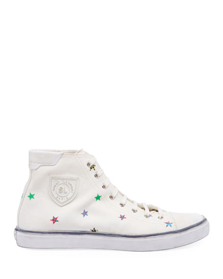 Image 2 of 3: Saint Laurent Men's Bedford Star-Print High-Top Sneakers
