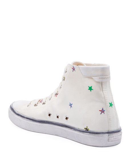Image 3 of 3: Saint Laurent Men's Bedford Star-Print High-Top Sneakers