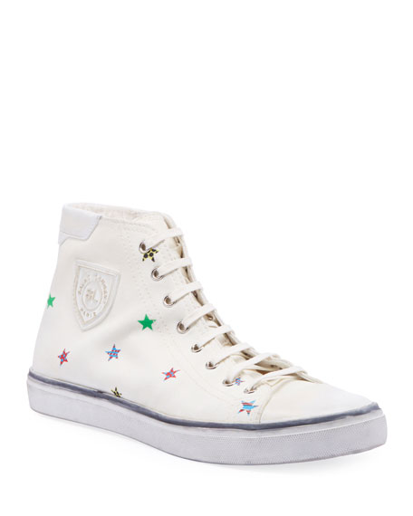 Image 1 of 3: Saint Laurent Men's Bedford Star-Print High-Top Sneakers