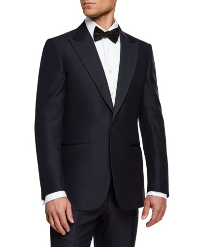 Men's Peak-Lapel Wool Two-Piece Tuxedo Suit