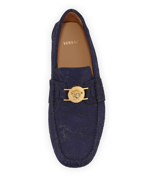 Versace Men's Python-Embossed Medusa Loafers
