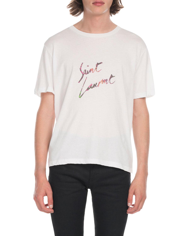 3703cde5033 Saint Laurent Men's Multi Leopard Logo T-Shirt | Neiman Marcus