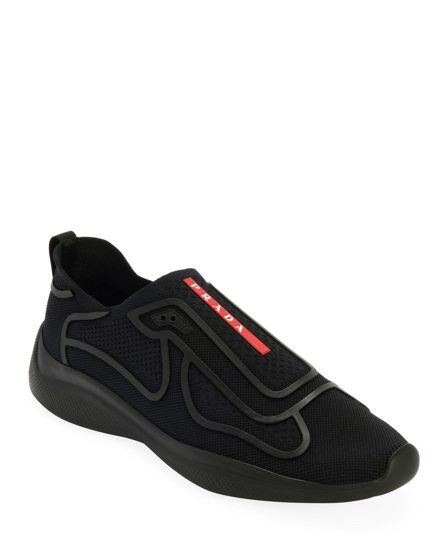 Prada Men s Sport Knit Low-Top Slip-On Sock Runner Shoes  168a681ca38b