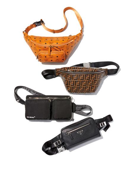 Prada Men's Saffiano Leather Travel Belt Bag/Fanny Pack