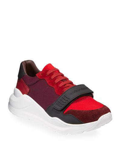 Men's Regis Neoprene Low-Top Sneakers w/ Exaggerated Sole  Dark Red