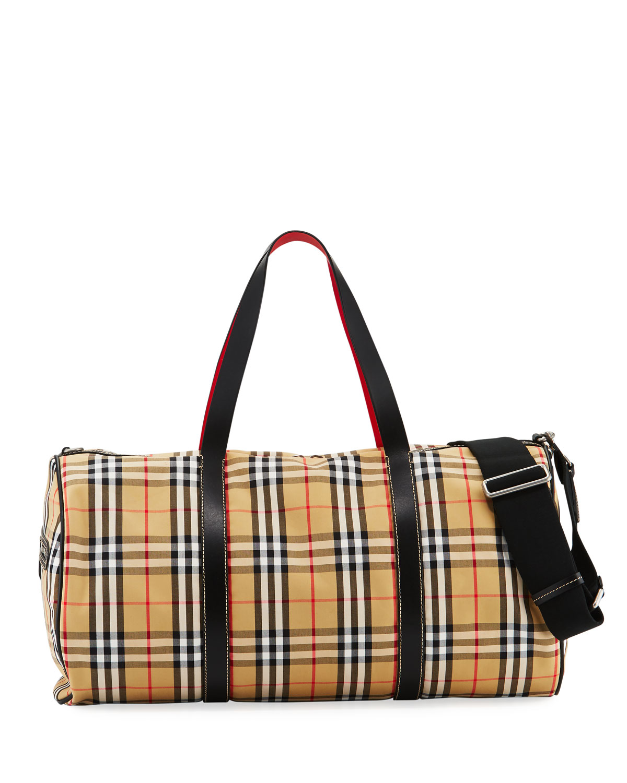 a23d0f3813 Burberry Men's Kennedy Vintage Check Duffel Bag   Neiman Marcus