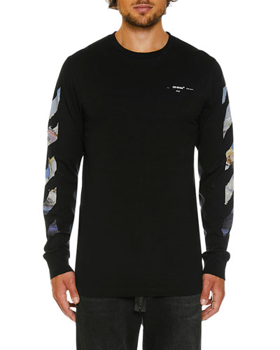 Men's Colored Diagonal-Arrow Long-Sleeve T-Shirt