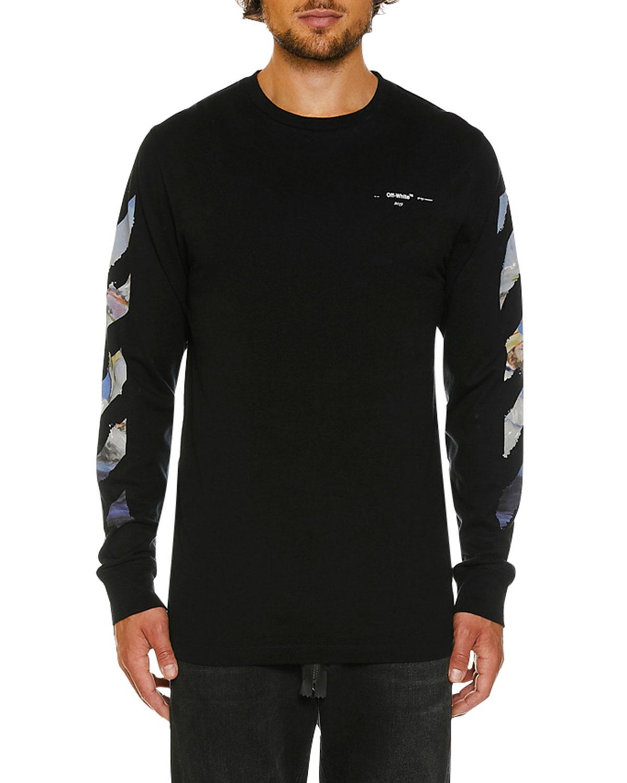 70e389640ef66 Off-White Men s Colored Diagonal-Arrow Long-Sleeve T-Shirt