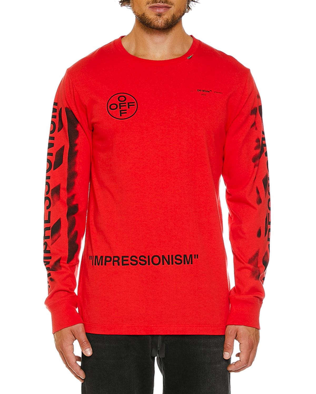4080f57b85 Off-White Men's Stencil Diagonal-Arrow Long-Sleeve T-Shirt | Neiman ...