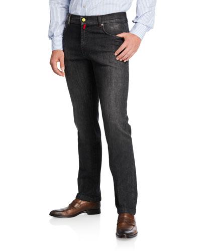 Men's Washed Denim Jeans