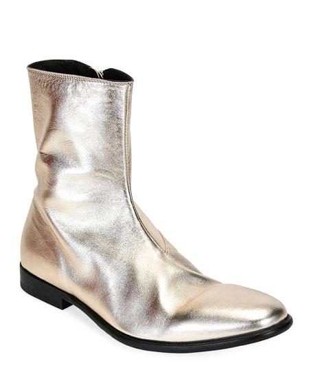 Alexander McQueen Men's Dream Metallic Leather Ankle Boots