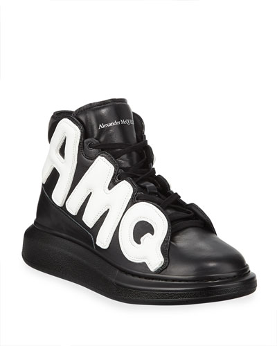 Men's High-Top Oversized Graphic Sneaker in Leather