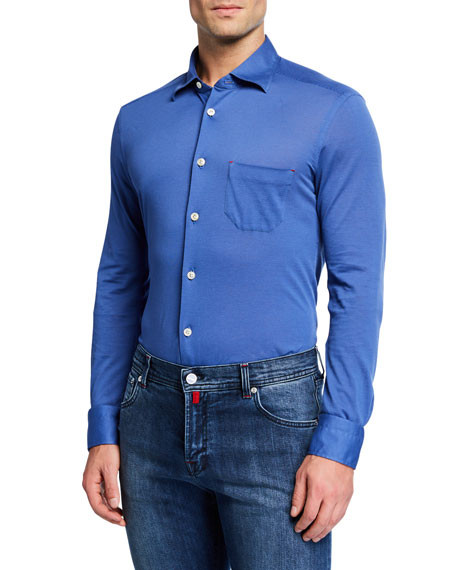Kiton Men's Pique Pocket Sport Shirt, Blue