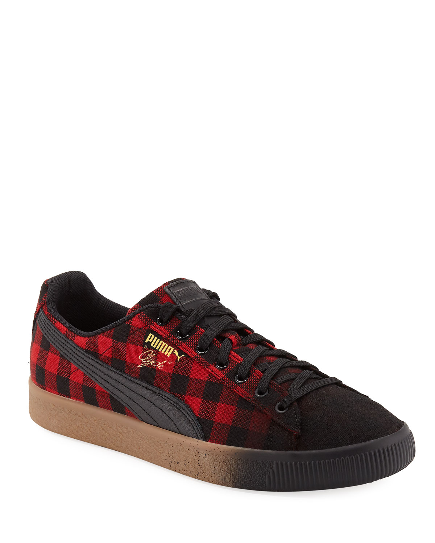 Puma Men s Clyde Buffalo Check Platform Low-Top Sneakers  ed9598a6e