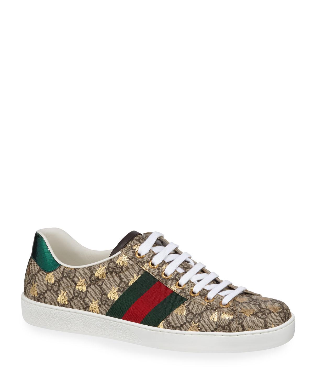 Gucci Men s Ace GG Supreme Bee Sneakers  a272bfecc27