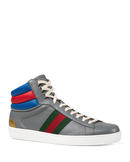 Gucci Men's Ace Colorblock Leather High-Top Sneakers