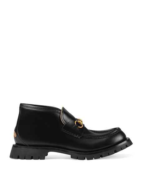 Gucci Men's Leather Ankle Boots with Rosebuds-Print Sole