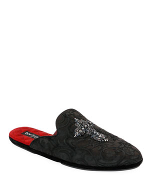 aff564d560627 Dolce & Gabbana Men's Da Camera Jacquard Slippers with Crystal Cross.  Favorite. Quick Look
