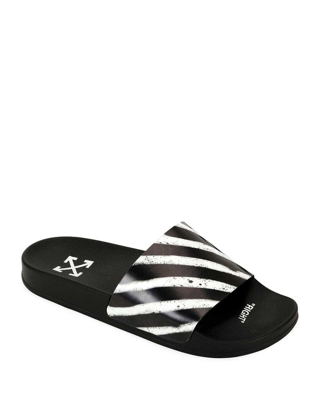 Off-White Men's Pool Slide Spray Sandals   Neiman Marcus