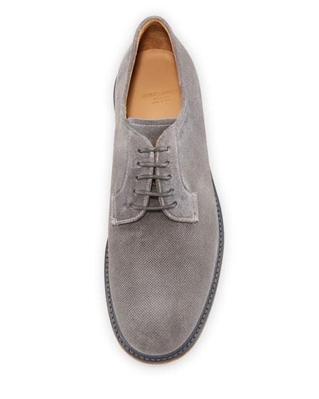 Giorgio Armani Men's Suede Low-Top Derby Shoe, Dark Gray