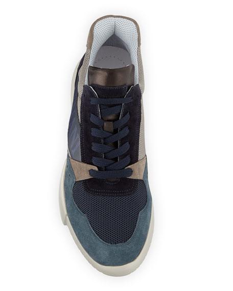 Giorgio Armani Men's Logo-Embossed Suede-Trim Trainer Sneakers