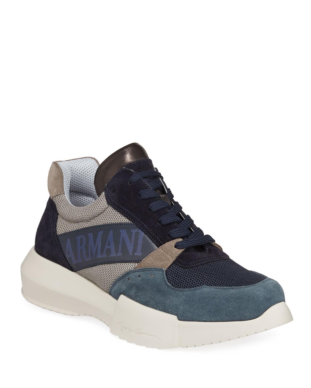 7b4eb9a8c6a Giorgio Armani Men's Logo-Embossed Suede-Trim Trainer Sneakers ...