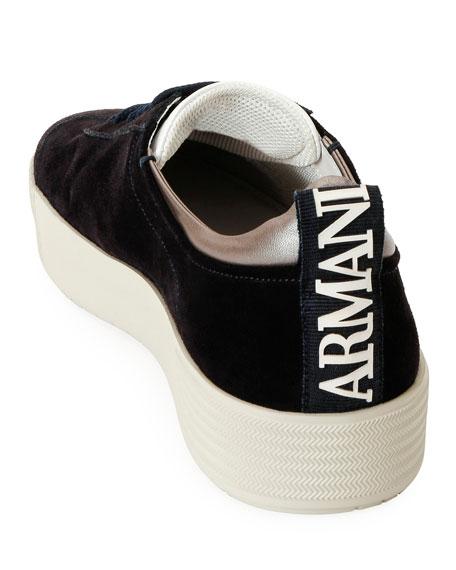Giorgio Armani Men's Suede Low-Top Sneakers, Navy