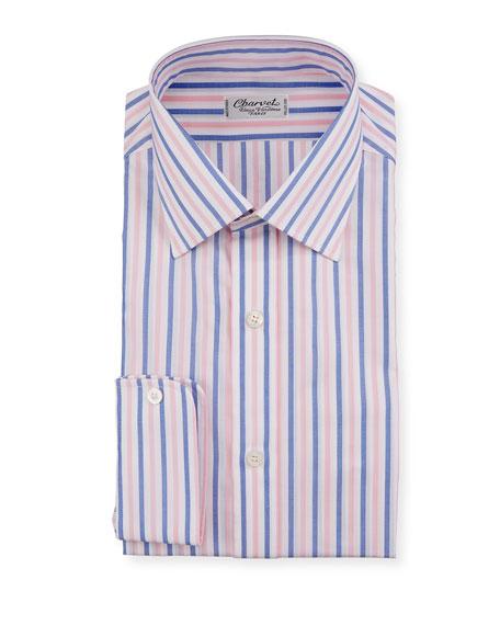 Charvet Men's Vertical Stripe Dress Shirt, Pink/Blue