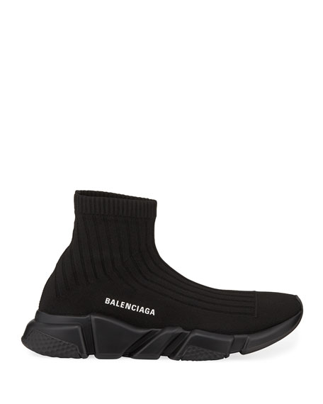 Balenciaga Men's Speed Stretch-Knit Sock Sneakers, Black