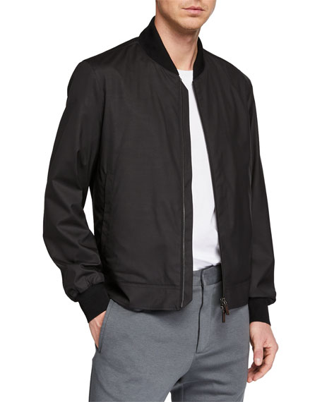 Ermenegildo Zegna Men's Wool-Blend Packable Bomber Jacket