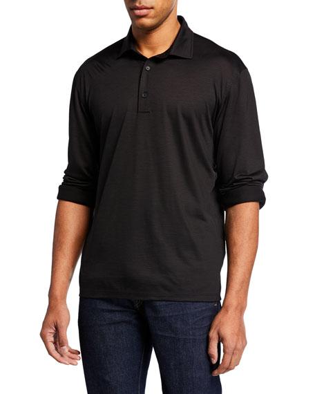 Ermenegildo Zegna T-shirts MEN'S LIGHTWEIGHT WOOL LONG-SLEEVE POLO SHIRT, BLACK