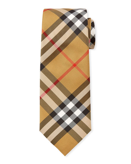 Burberry Manston Modern-Cut Check Silk Tie